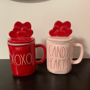 Rae Dunn Valentine's Day mugs with toppers